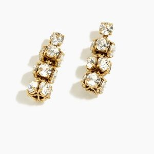 J.Crew Twisted Crystal Drop Earrings in Crystal